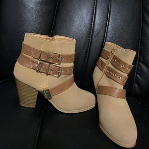 Size 6 booties (tan) from shodazzle, used a hand